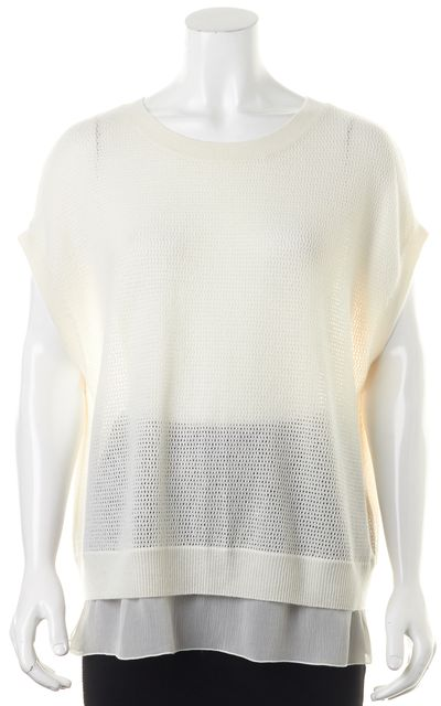VINCE White Wool Perforated Knit Top