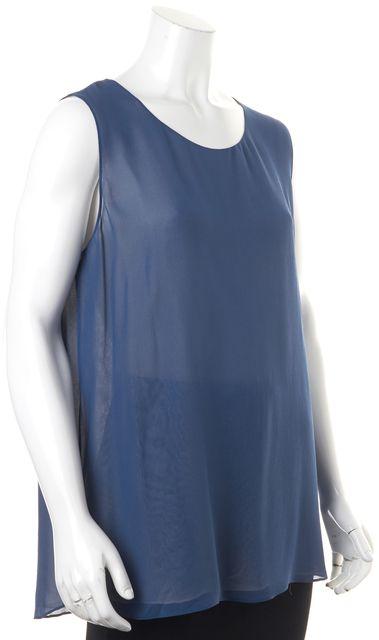 VINCE Blue Silk Blouse Top