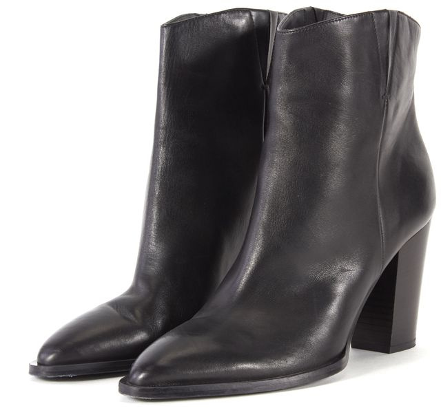 VINCE Black Leather Pointed Toe Block Heel Ankle Boots