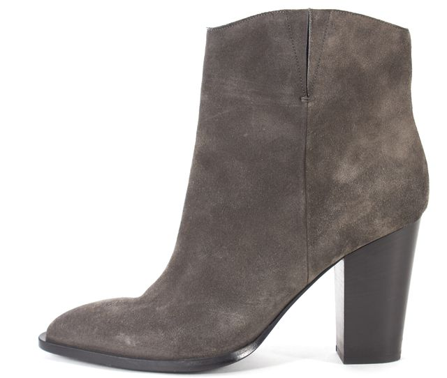 VINCE Gray Suede Leather Pointed Toe Heeled Ankle Boots