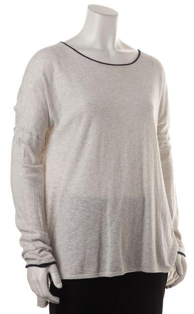 VINCE Light Heather Gray Navy Contrast Trim Long Sleeve Knit Top