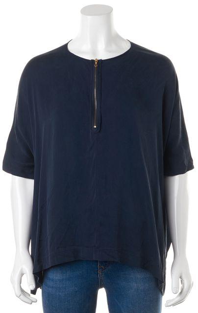 VINCE Navy Blue Silk Half Zip Blouse