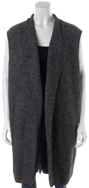 VINCE Black White Marled Knit Wool Long Open Vest Jacket