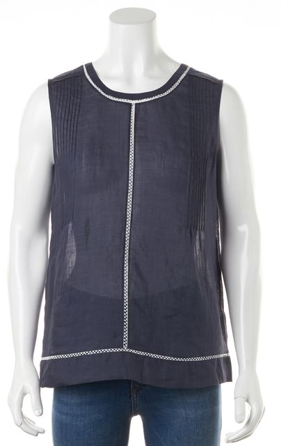 VINCE Navy Blue Sheer White Embroidered Trim Sleeveless Blouse Top