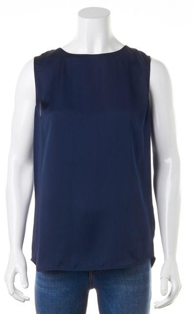 VINCE Navy Blue Silk Sleeveless Open Cross Back Blouse Top
