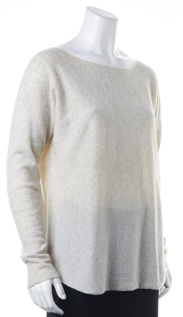 VINCE Ivory Gray Marled Knit Wool Cashmere Long Sleeve Wide Neck Sweater