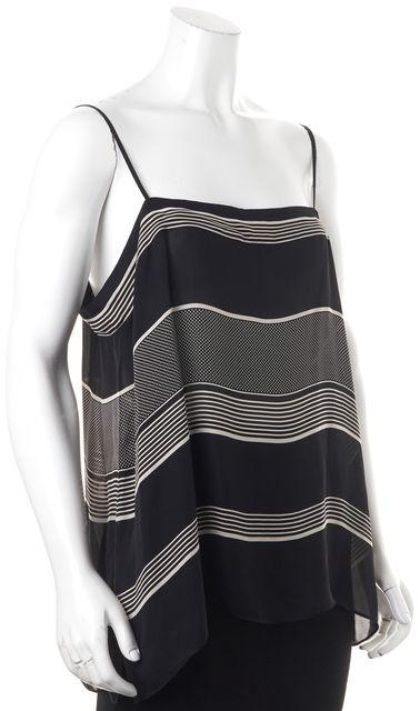 VINCE Black Striped Silk Blouse Top