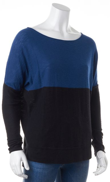 VINCE Blue Black Cotton Colorblock Long Sleeve Relaxed Fit Knit Top
