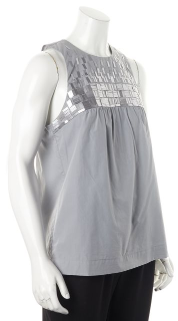 VINCE Gray Embellished Sleeveless Back Keyhole Button Closure Blouse