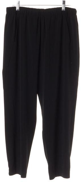 VINCE Black Elastic Waist Straight Leg Polyester Blend Casual Pants