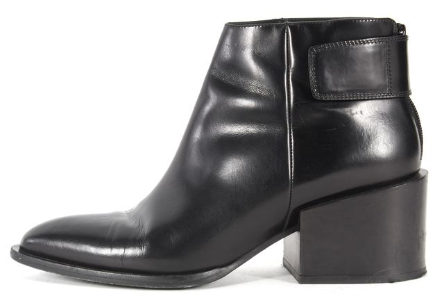 VINCE Black Leather Pointed Toe Chunky Block Heel Ankle Boots