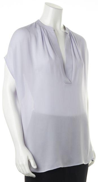 VINCE Lilac Purple Silk V-Neck Semi Sheer Blouse Top