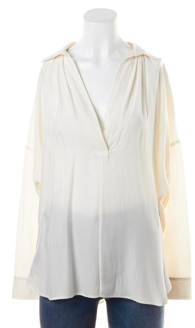 VINCE Ivory Silk Semi Sheer Plunge Neck Long Sleeve Blouse
