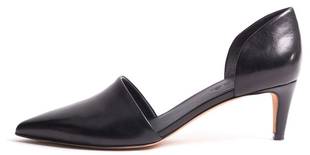 VINCE Black Leather Pointed Toe D'Orsay Heels