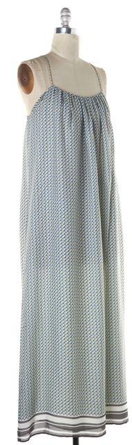 VINCE Blue Ivory Gray Pink Abstract Geometric Print Crepe Silk Maxi Dress