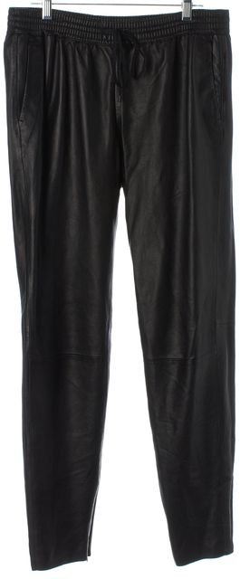 VINCE Black 100% Genuine Lamb Leather Ankle Zipped Drawstring Casual Pants