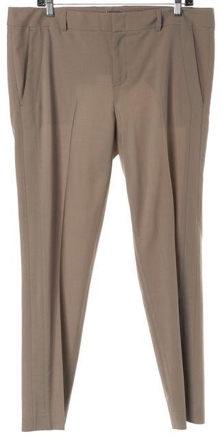 VINCE Beige Wool Pleated Trousers Dress Pants