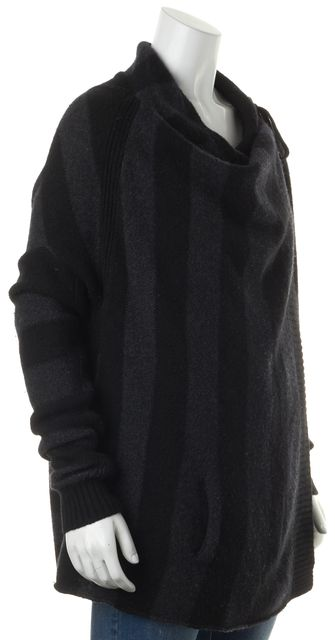 VINCE Gray Black Striped Cashmere Wool Blend Cardigan
