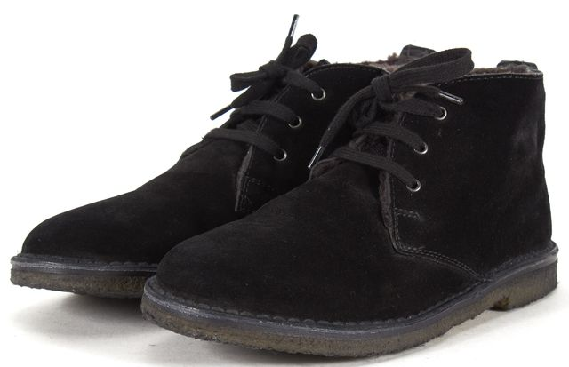 VINCE Black Suede Shearling Lined Crepe Sole Chukka Boots