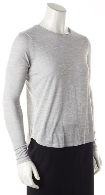 VINCE Gray Long Sleeve Crew Neck Blouse Top