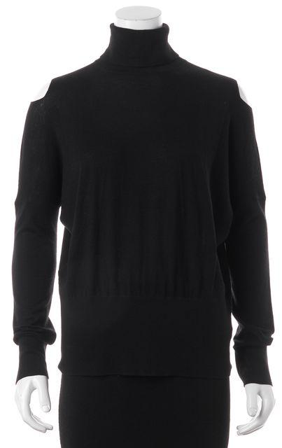 VINCE Black Wool Knit Open Shoulder Turtleneck Sweater