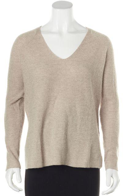 VINCE Beige Ribbed Wool Cashmere V-Neck Sweater