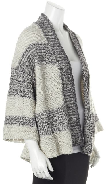 VINCE White Gray Marled Striped Chunky Open Cardigan