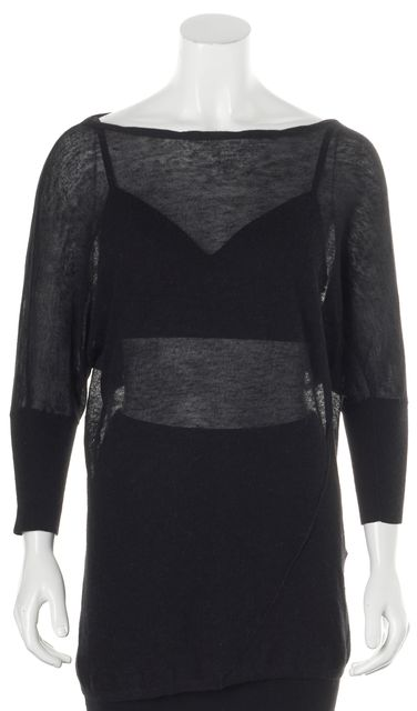 VINCE Black Wool Dolman Sleeve Sheer Boat Neck Sweater