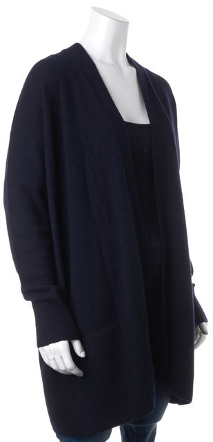VINCE Navy Blue Wool Cashmere Open Cardigan