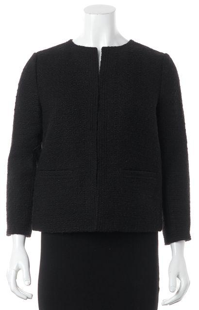 VINCE Black Woven Collarless Hidden Closure Basic Jacket