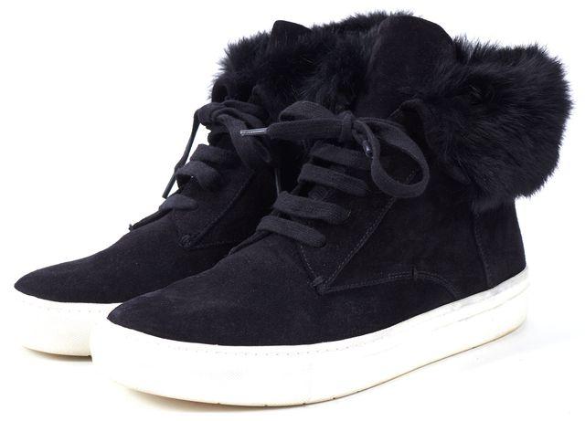 VINCE Black Suede Leather Rabbit Fur Trim High-Top Sneakers