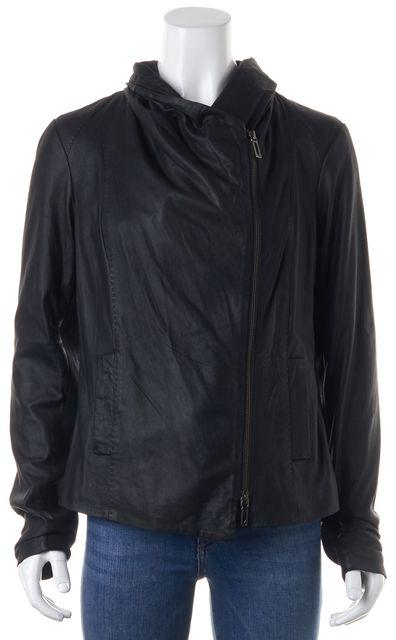 VINCE Black Leather Wool Trim Zip-Up Motorcycle Jacket
