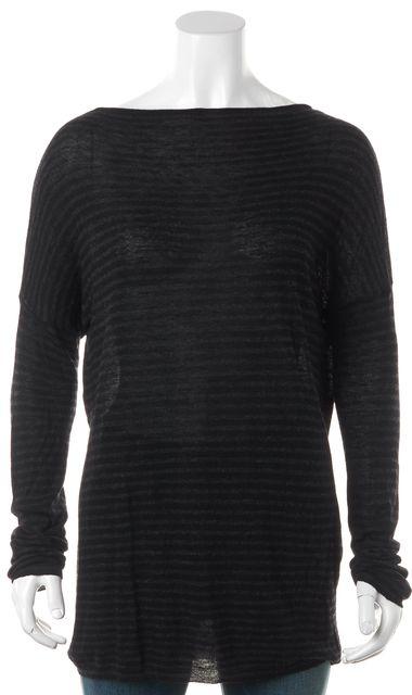 VINCE Black Gray Striped Long Sleeve Boat Neck Sweater