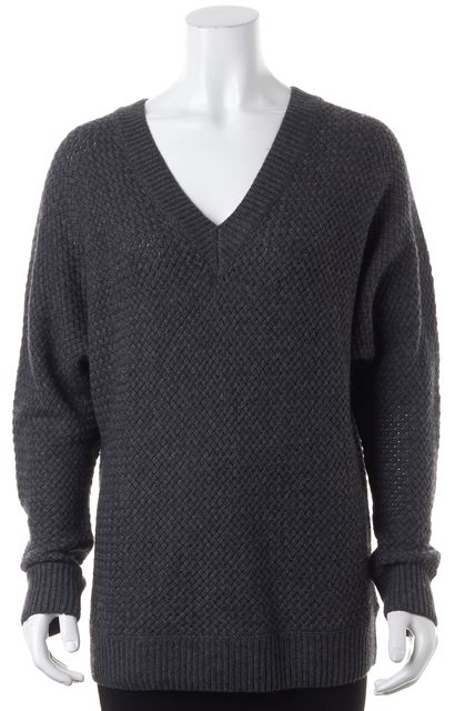VINCE Gray Wool Cashmere Long Sleeve V-Neck Sweater