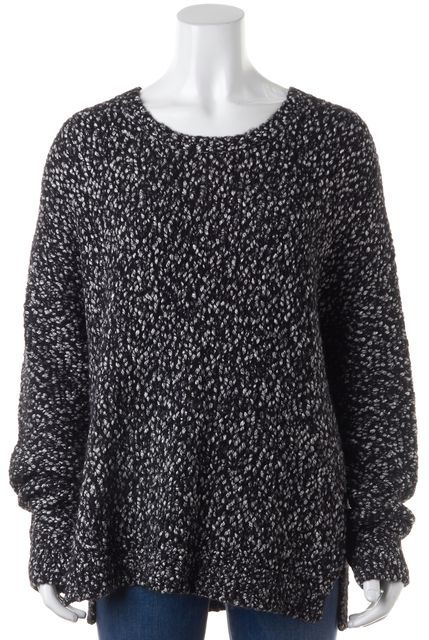 VINCE Black Gray Marled Long Sleeve Chunky Crewneck Sweater