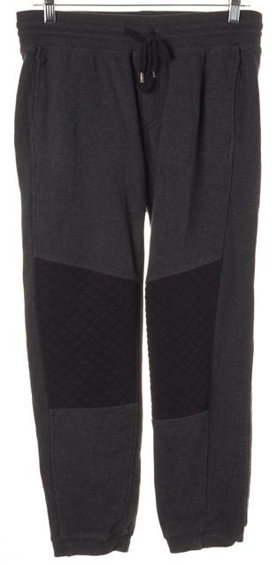 VINCE Gray Black Patchwork Drawstring Cotton Sweatpants