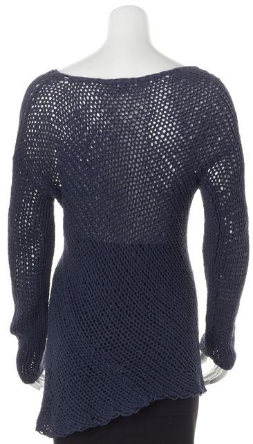 VINCE Navy Blue Open Knit Sheer Scoop Neck Sweater