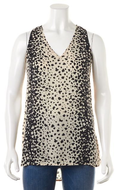 VINCE Ivory Black Sleeveless V-Neck Animal Print Silk Blouse Top