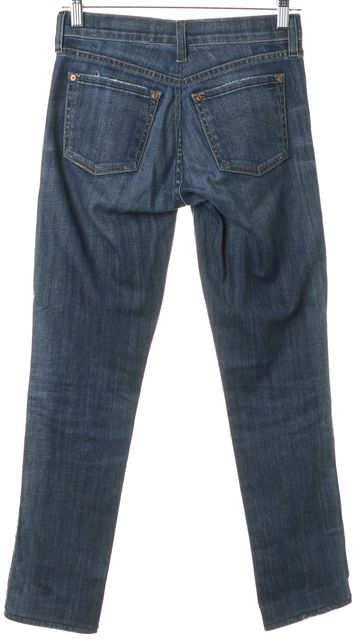 VINCE Blue Whiskered Mid-Rise Straight Leg Jeans