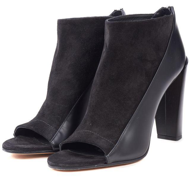 VINCE Black Leather Suede Open Toe Bayard Bootie Heels