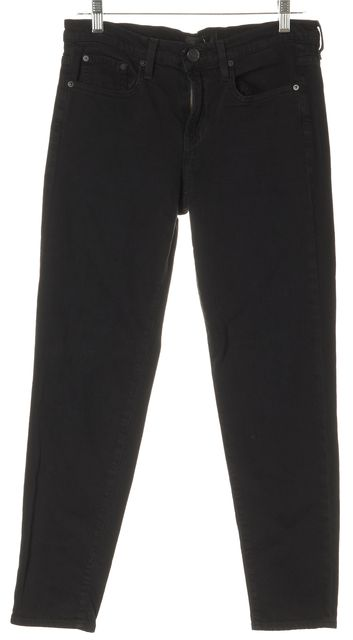 VINCE Black Stretch Cotton Cropped Standard Skinny Jeans