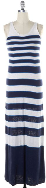 VINCE Blue White Striped Cotton Knit Jersey Sleeveless Tank Maxi Dress