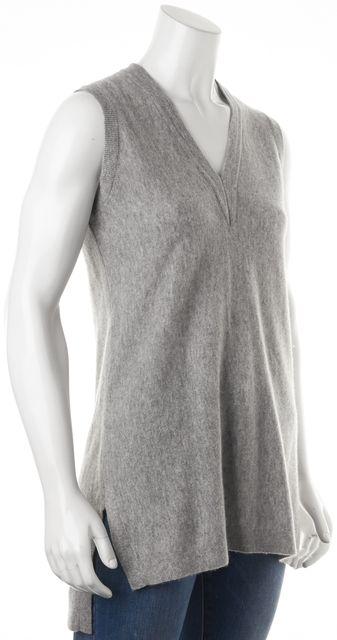 VINCE Gray Cashmere Sleeveless V-Neck Oversized Knit Top