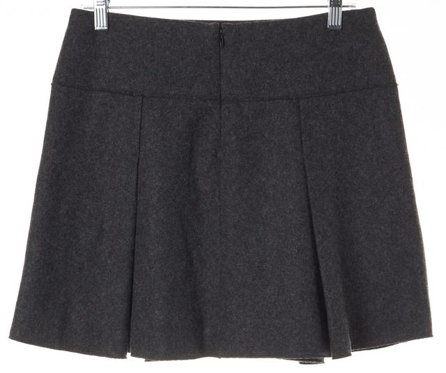 VINCE Gray Wool Above Knee Pocket Front Pleated A-Line Skirt