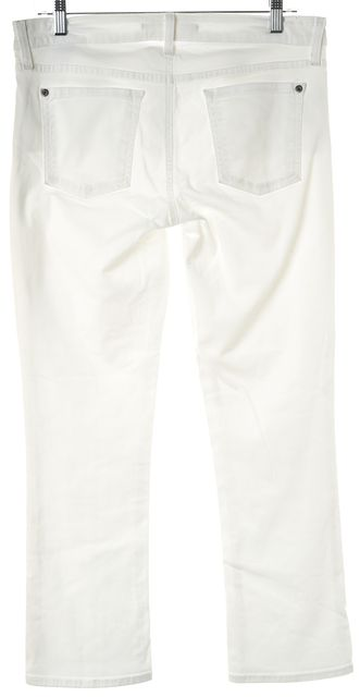 VINCE White Stretch Cotton Baby Bell Cropped Jeans