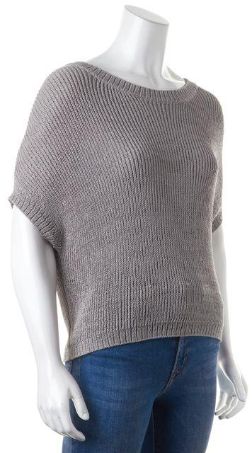 VINCE Gray Crewneck Batwing Knit Top