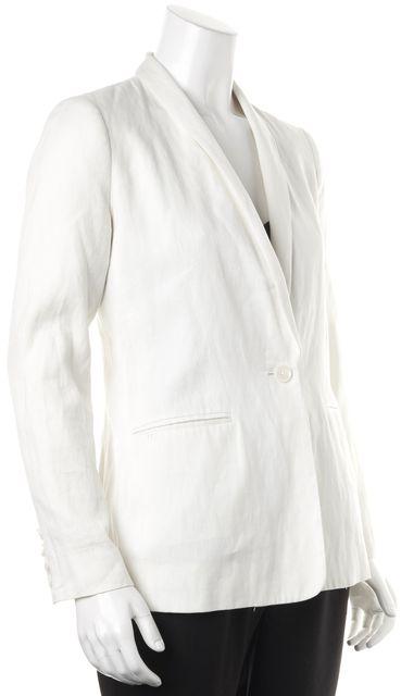 VINCE White Linen Single Button Pocket Front Blazer