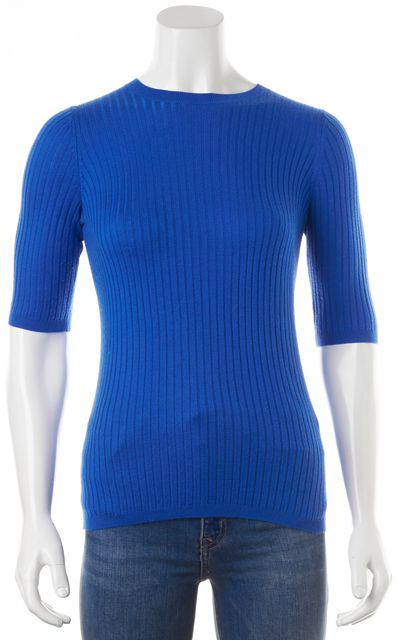 VINCE Blue Ribbed Knit Crewneck Short Sleeve Top