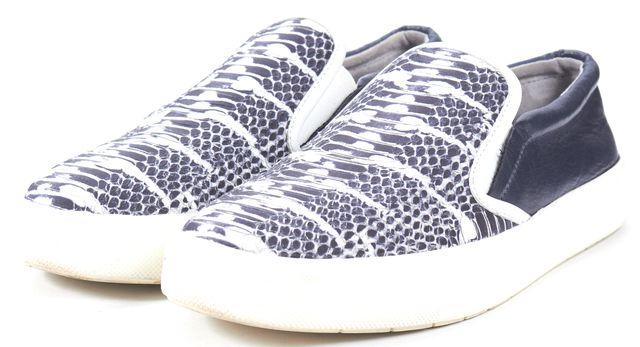 VINCE Navy Blue White Snakeskin Leather Slip-On Sneakers