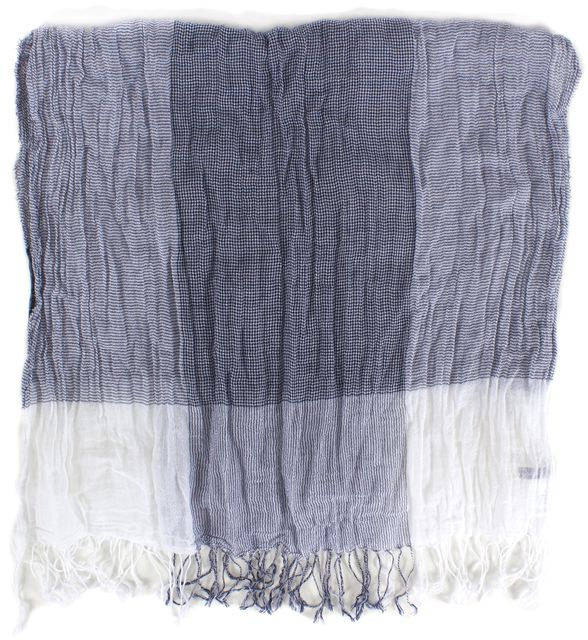 VINCE Blue White Plaid Cotton Light Weight Fringe Trim Scarf